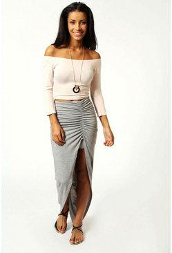 Grey marl Petite Michelle Viscose Maxi Skirt