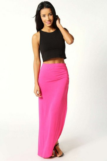 Womens Pink Petite Michelle Viscose Maxi Skirt