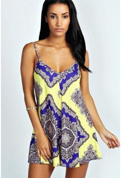 Yellow Large Baroque Swing Playsuit