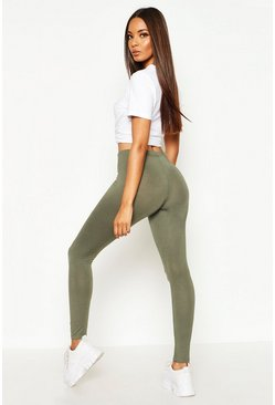 Womens Khaki Basic Jersey Leggings