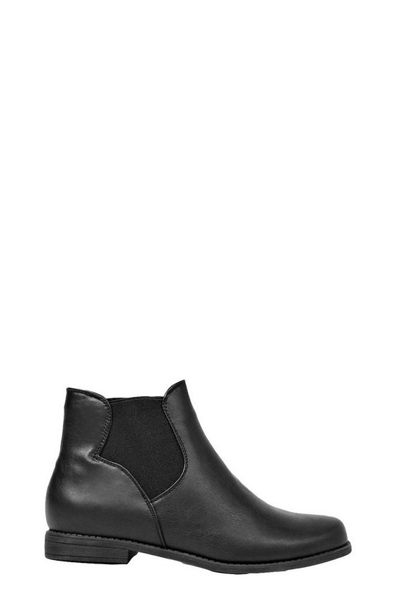 Womens Black Pull On Elastic Gusset Chelsea Boots