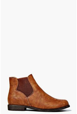 Womens Tan Pull On Elastic Gusset Chelsea Boots