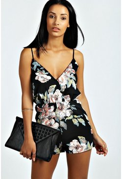 Womens Black Floral Print Playsuit