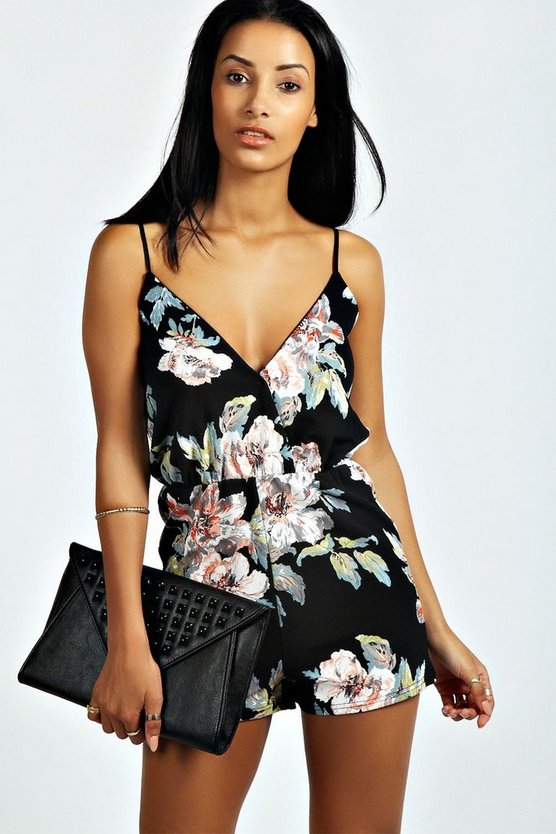 Floral Print Playsuit by Boohoo