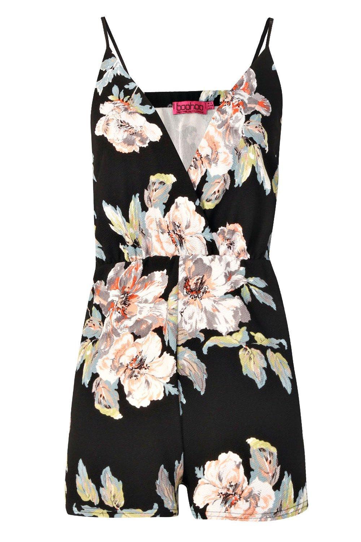 estampado con negro Mono floral corto q4TYw8f