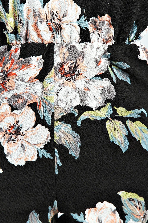 negro Mono corto floral con estampado XwHXgqR