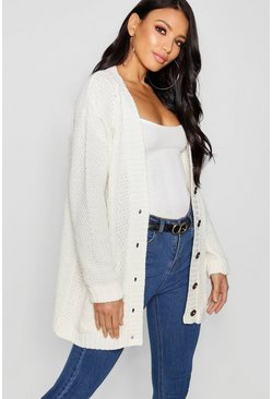 Womens Cream Cable Boyfriend Button Up Cardigan