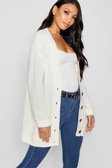 Cream Cable Boyfriend Button Up Cardigan