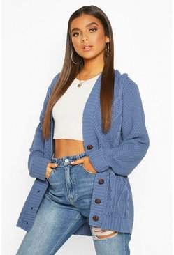 Denim-blue Cable Boyfriend Button Up Cardigan