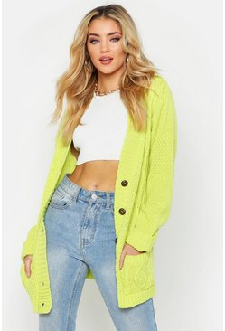Womens Lime Cable Boyfriend Button Up Cardigan