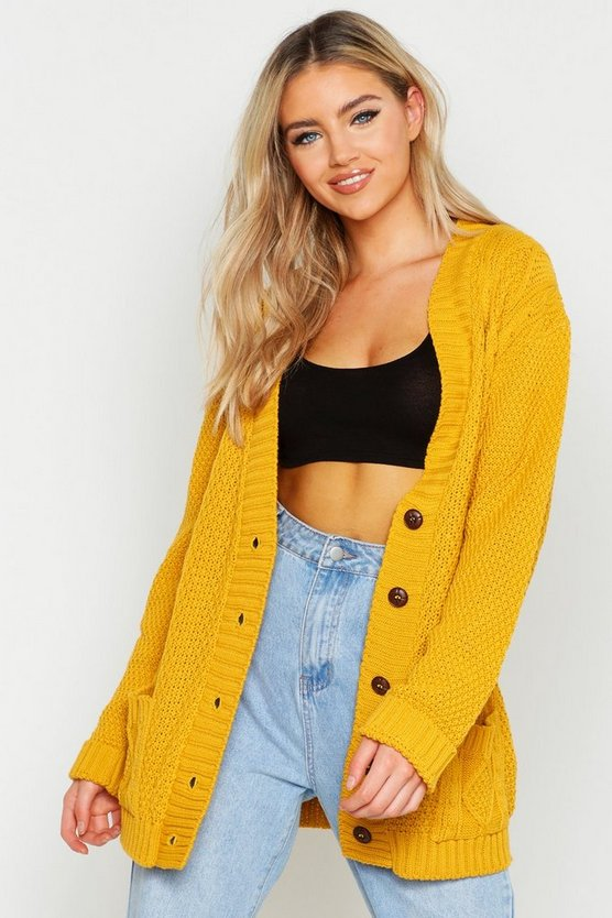 Womens Mustard Cable Boyfriend Button Up Cardigan