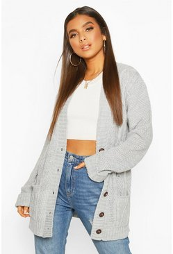 Silver grey Cable Boyfriend Button Up Cardigan