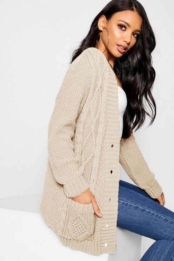 Stone Cable Boyfriend Button Up Cardigan