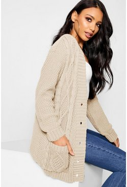 Womens Stone Cable Boyfriend Button Up Cardigan