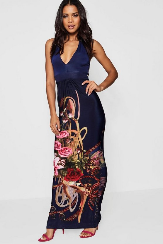 Border Print Halter Neck Maxi Dress