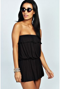Womens Black Basic Bandeau Ruffle Jersey Playsuit