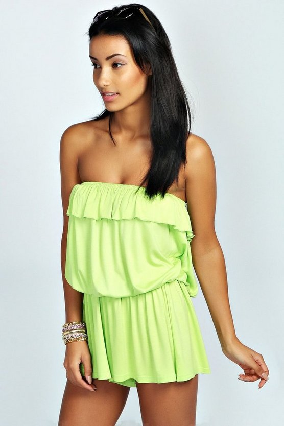 Womens Lime Basic Bandeau Ruffle Jersey Playsuit