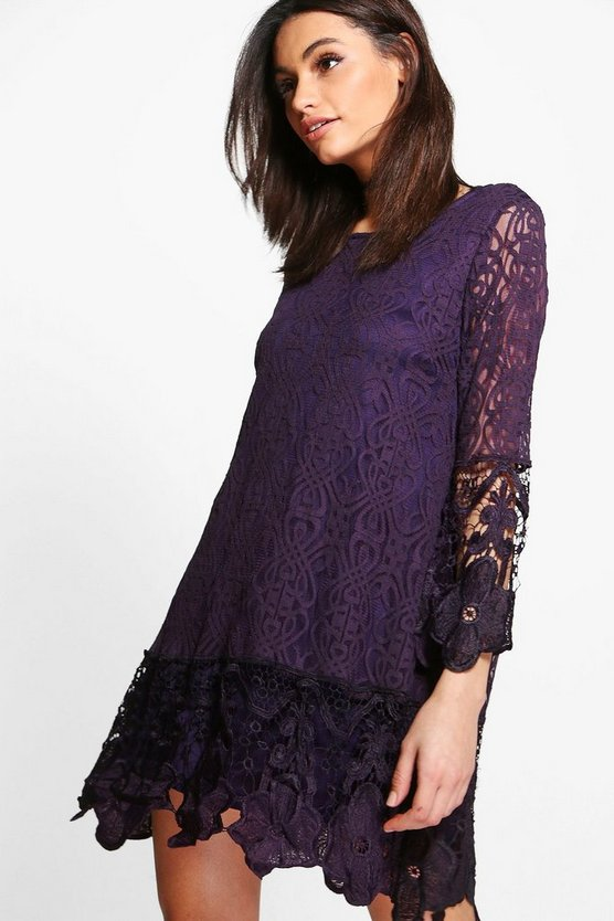 Womens Black plum Flower Lace Long Sleeve Smock Dress