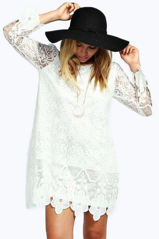Womens White Flower Lace Long Sleeve Smock Dress