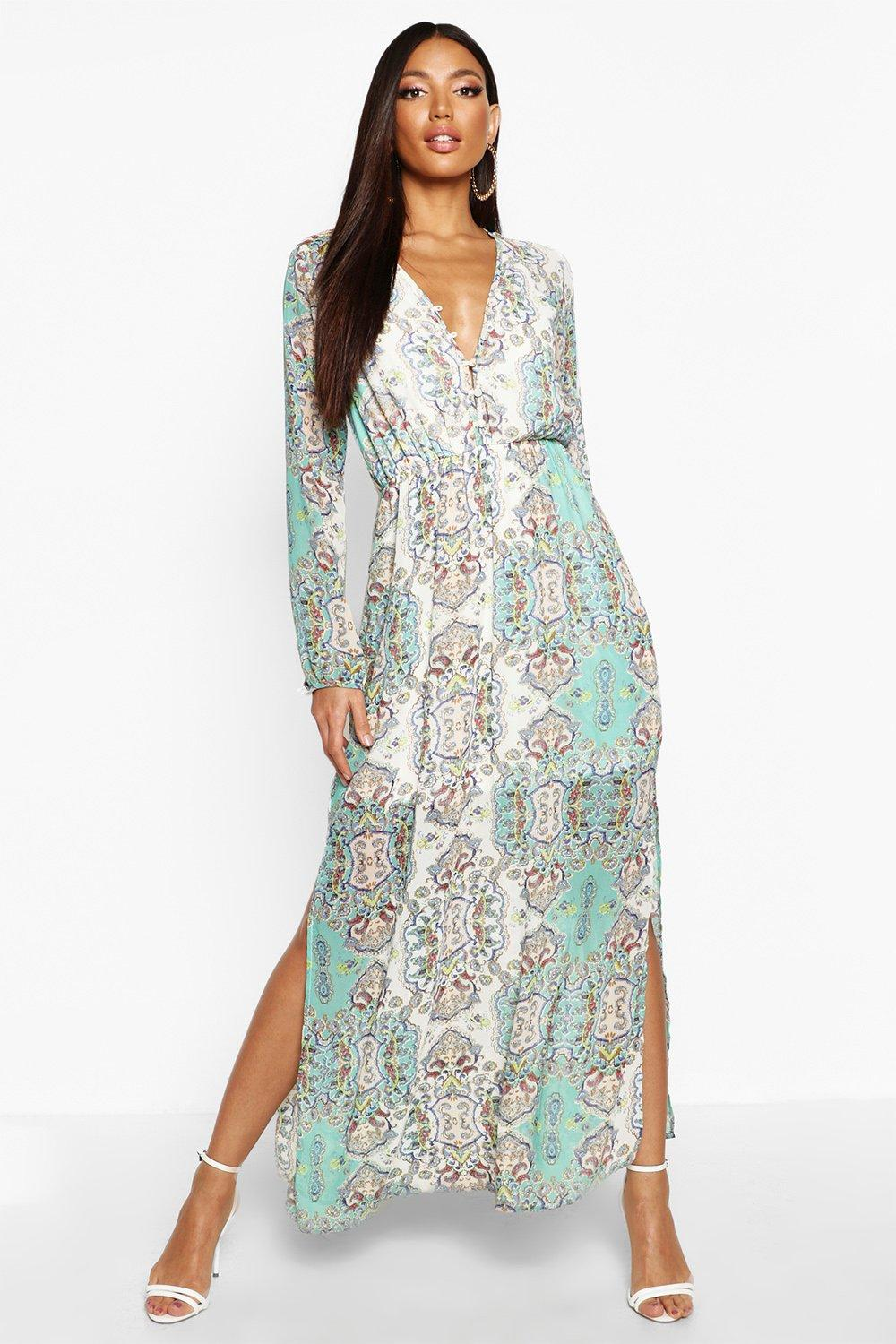 600f9bf89735 Cage Detail Paisley Woven Maxi Dress | Boohoo