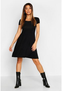 Black Jersey Cap Sleeve Skater Dress