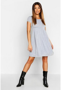 Womens Grey marl Jersey Cap Sleeve Skater Dress