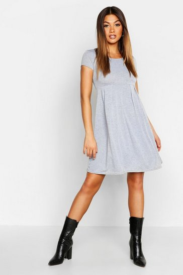 Grey marl Jersey Cap Sleeve Skater Dress