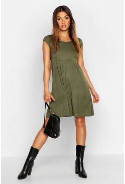 Womens Khaki Jersey Cap Sleeve Skater Dress