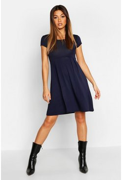 Midnight Jersey Cap Sleeve Skater Dress