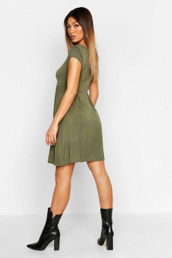 Jersey Cap Sleeve Skater Dress