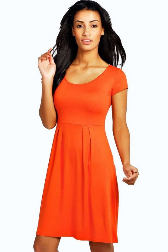 Womens Orange Jersey Cap Sleeve Skater Dress