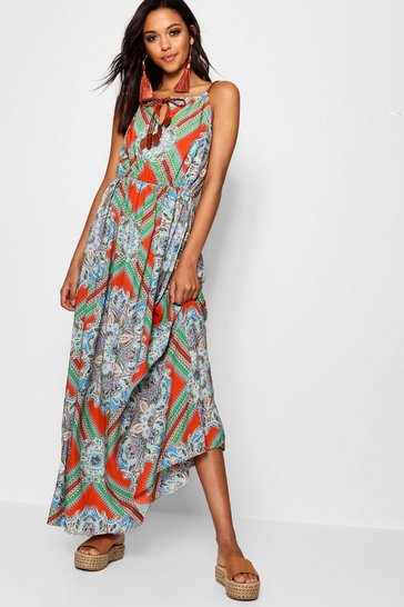 Womens Orange Plait Detail Paisley Print Maxi Dress
