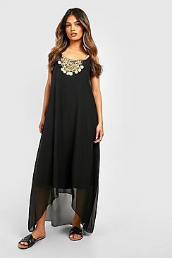 Necklace Dip Hem Maxi Dress