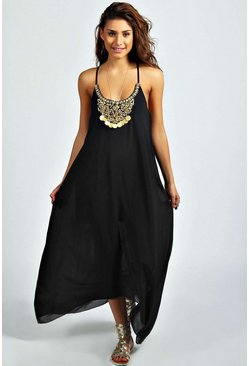 Womens Black Beaded Necklace Dip Hem Maxi Dress