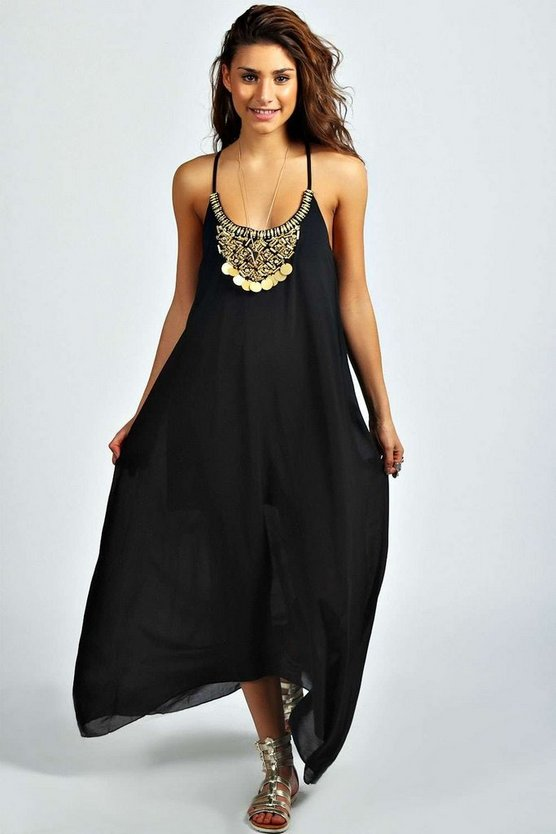 Beaded Necklace Dip Hem Maxi Dress