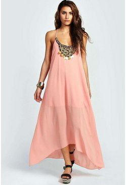 Womens Nude Beaded Necklace Dip Hem Maxi Dress