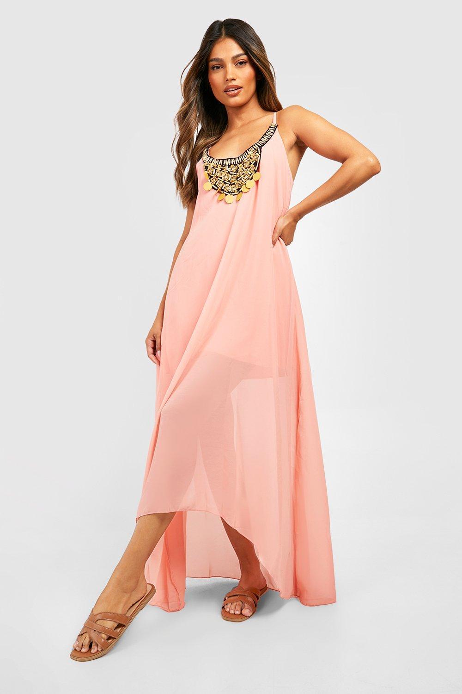 Beaded Necklace Dip Hem Maxi Dress  f2e651b642