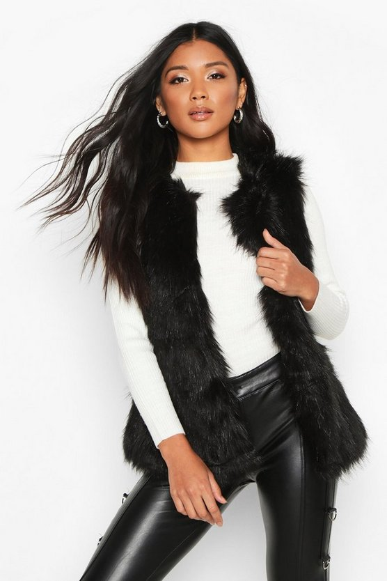 Womens Black Faux Fur Gilet