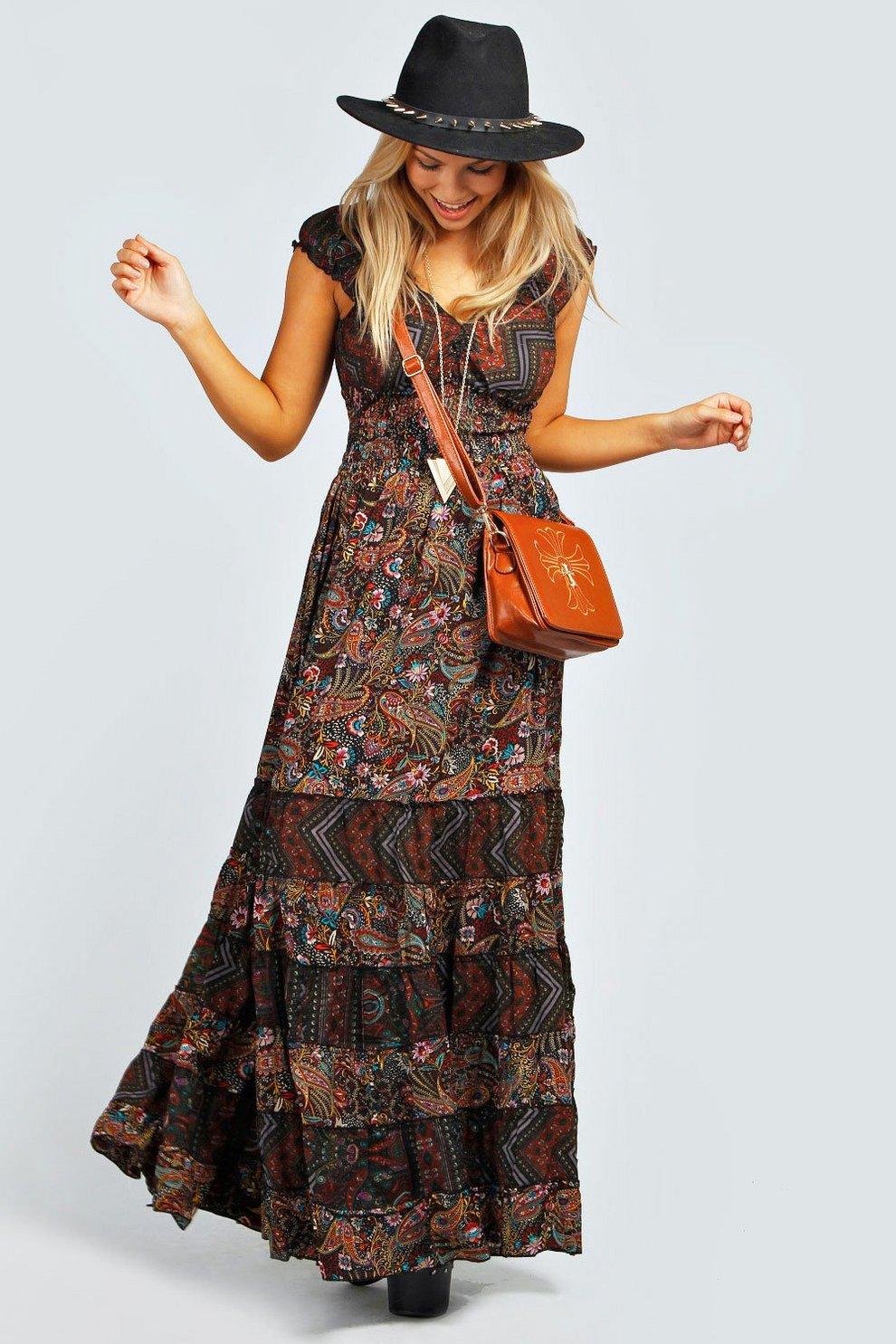 30ee2b9e48da Julia Elastic Gypsy Tierred Maxi Dress | Boohoo