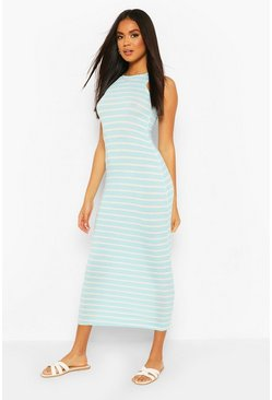 Blue Striped Cut Away Maxi Dress