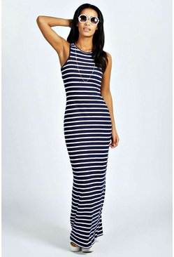 Womens Multi Striped Cut Away Maxi Dress