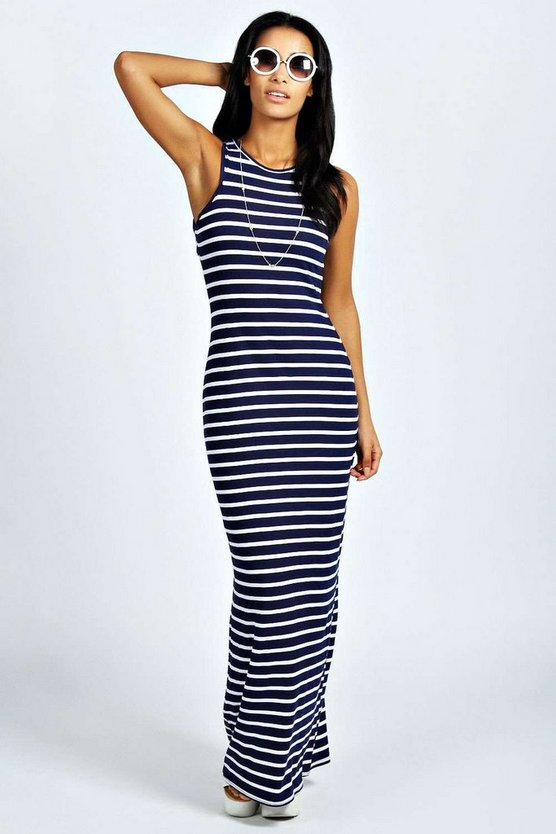 Striped Cut Away Maxi Dress
