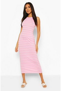 Pink Striped Cut Away Maxi Dress