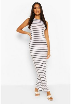 White Striped Cut Away Maxi Dress
