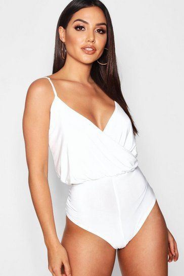 Womens Cream Wrap Front Bodysuit
