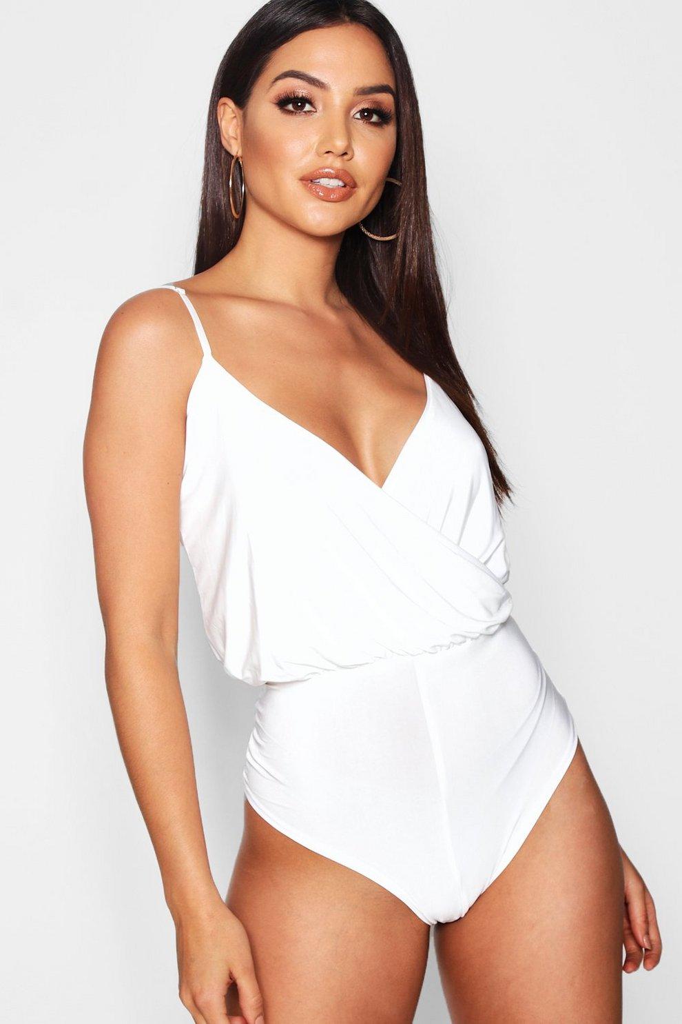 ef8f2060a594e Wrap Front Bodysuit | Boohoo