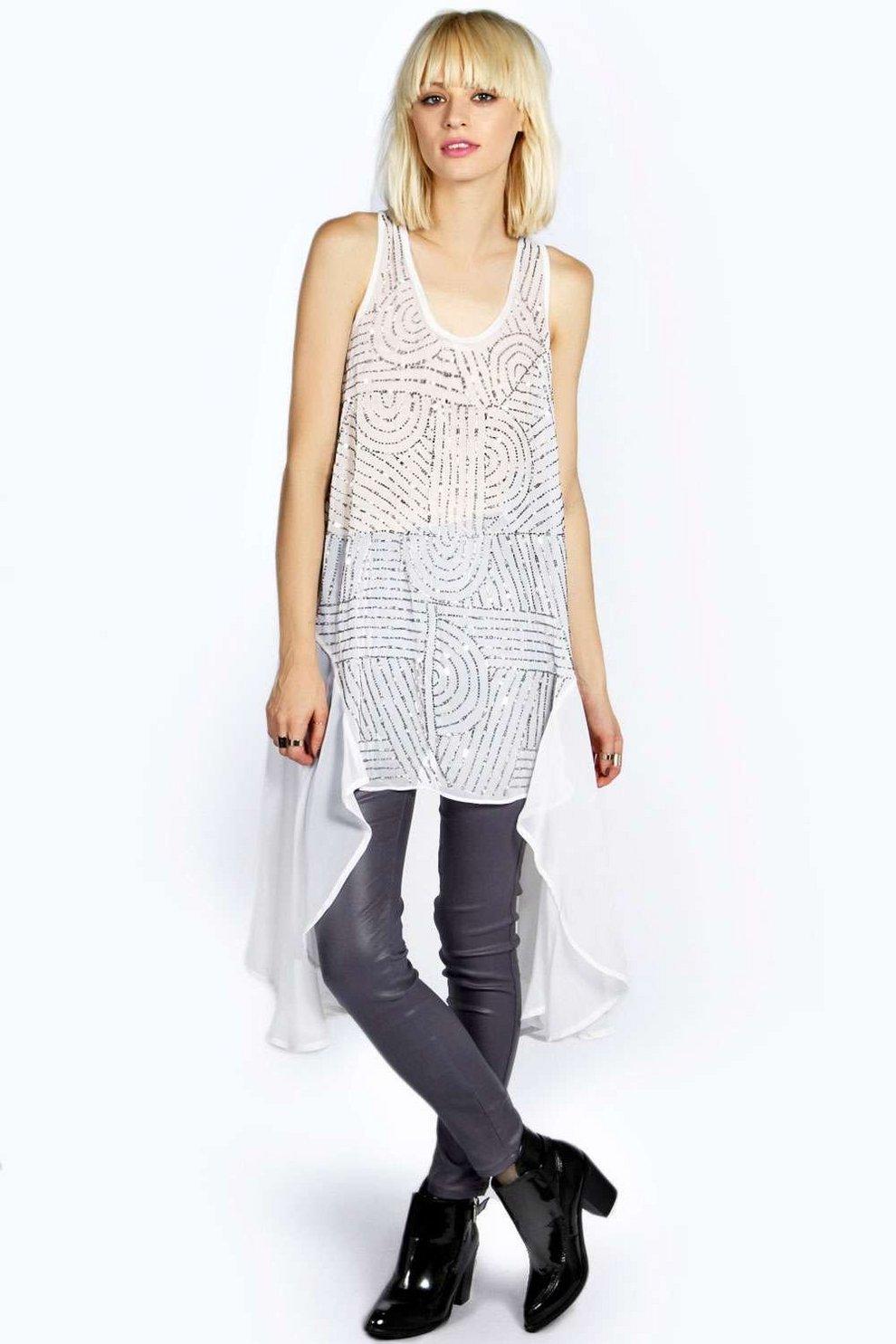 0efb3cfa6 vestido tipo túnica largo con cuentas por delante y dobladillo asimétrico  lucia boutique