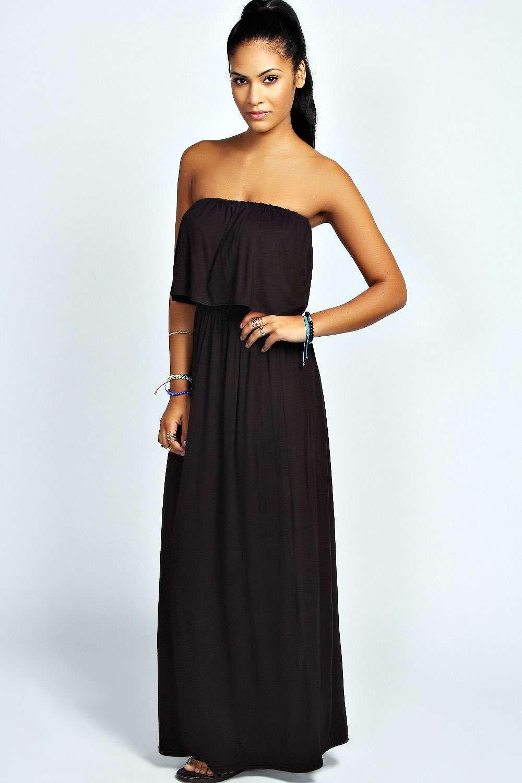8405fa4165a Boohoo Womens Ladies Casey Bandeau Frill Top Maxi Dress MXD2 BWMD1 ...