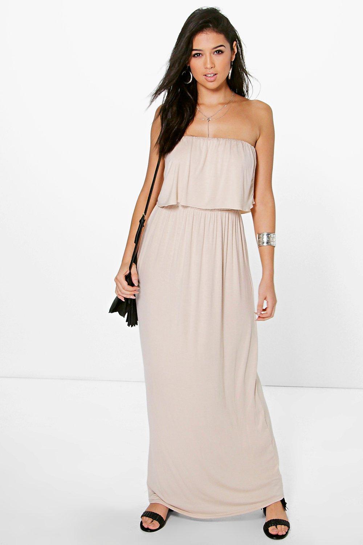 91a1e14a6e0 Womens Stone Bandeau Frill Top Maxi Dress. Hover to zoom