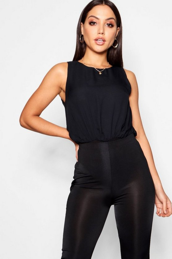Womens Black Chiffon Top Bodysuit
